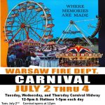 Warsaw Fire Dept Carnival July 2 thru 4th